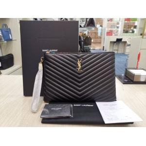 SOLD - NEW - YSL Monogram Tablet Pouch In Matellase Leather Black