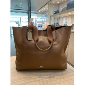 COACH Large Derby Saddle Pebble Leather Tote Bag