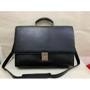 BALLY Black Leather Document Briefcase