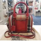 BURBERRY Canvas Red Leather Top Handle 2-Way Bag