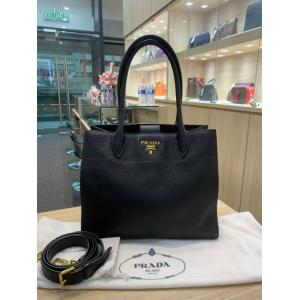 PRADA Black Leather 2-Way Tote Shoulder Bag