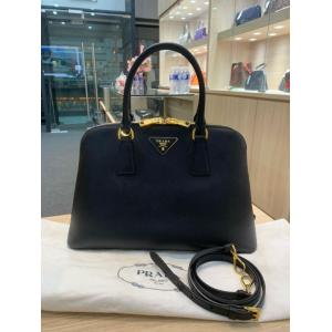 SOLD - PRADA Black Saffiano Leather Alma 2-Way Bag