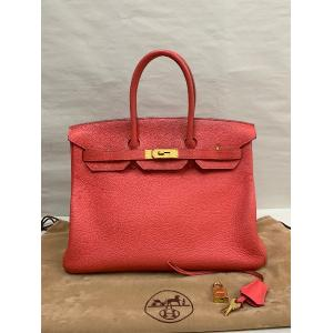 HERMES Birkin 35 Rouge Tomato Red Togo Leather With Gold Hardware