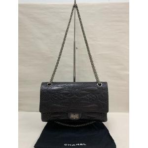 CHANEL 2.55 Black Embroidered Lambskin Ruthenium-Metal
