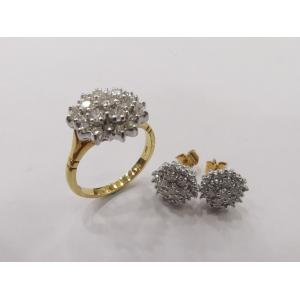 SOLD - Diamond Set With 750(18K) Yellow Gold Ring & Earring