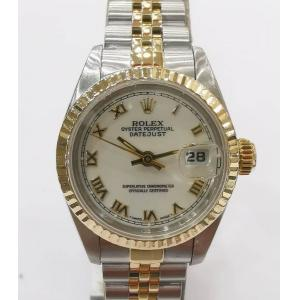 SOLD - ROLEX 69173 Ladies White Roman Letter Dial Auto 18K/SS 26mm