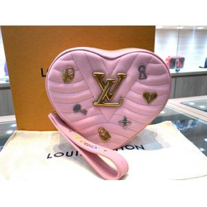 NEW - LV New Wave Heart-Shaped Pink Calfskin Shoulder Bag