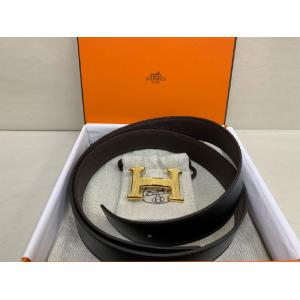 NEW - HERMES H Guillochee Belt Buckle & Reversible Leather Strap 32mm