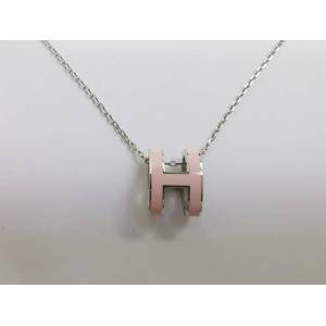 NEW - Hermes Pop H Pink With Silver Plated Pendant Necklace