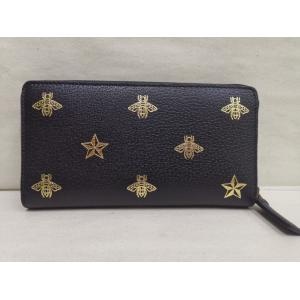 NEW - GUCCI Bee Star Black Leather Zip Around Wallet