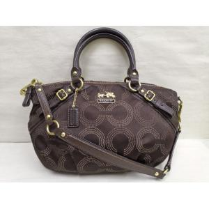 COACH Nylon Signature Brown Leather Zippy 2-Way Bag