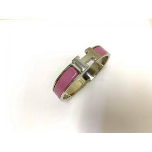 NEW - HERMES Clic H PM Rose Narrow Bracelet Enamel Palladium Plated Hardware