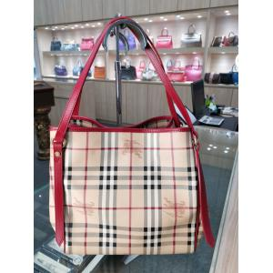 SOLD - BURBERRY Red Strap Haymarket Check Tote