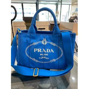 PRADA Fabric Printed Tote Blue