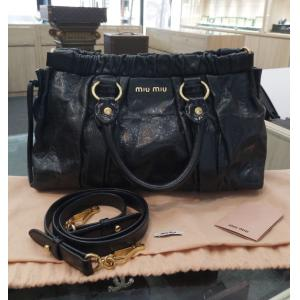 MIU MIU Black Vitello Lux Gathered Tote Bag