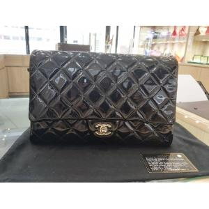 CHANEL Classic Medium Patent Leather Silver Hardware