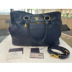 PRADA Soft Calf Blue Leather Tote