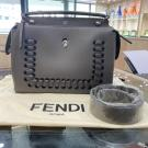 FENDI Grey Leather Medium Dot Com Bag