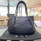 CHANEL Black Quilted Caviar Leather Zip Around Tote Bag