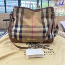 SOLD - BURBERRY Brown Leather Bridle House Check Canvas Canterbury Tote - NETT PRICE