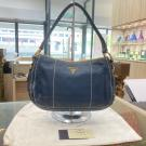 PRADA Blue Leather Hobo Shoulder Bag